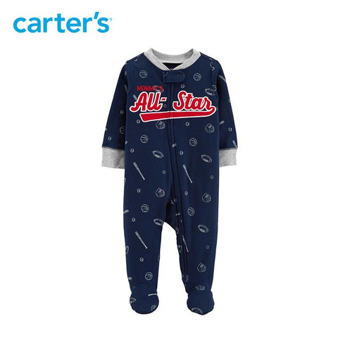 Carters Baby Boy Clothes Baseball Zip-Up Cotton Sleep & Play Footies