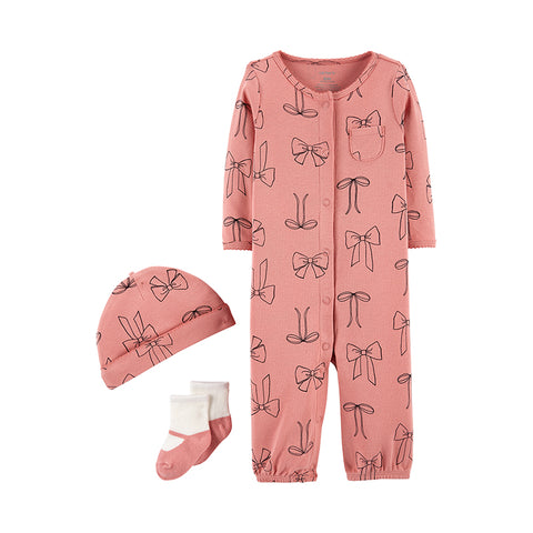 Carter's 3pcs Take Me Home baby Girl Rompers Bear Print