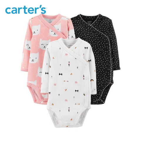 Carters 4Pcs Bodysuit Baby Girl Clothes Cotton Long Sleeve Newborn