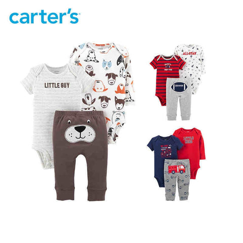 Carters 3-Piece Baby Boy Little Character Set Cute Bodysuits