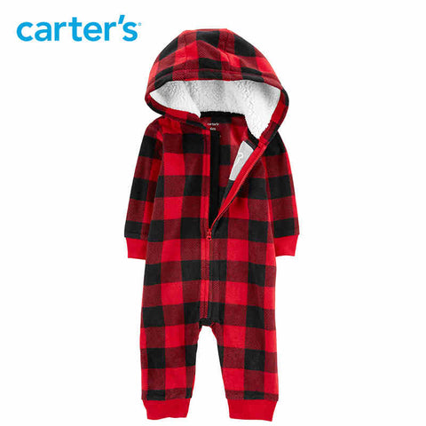 Carters Baby Boy Rompers Buffalo Check Zip-Up Fleece Jumpsuit