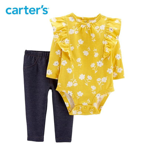 Carters Spring Baby Girl 2-Piece Floral Bodysuit Pant Set