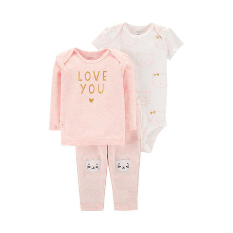 Carters 3Pcs Baby Girl Sets Cute Print Soft Cotton Clothes
