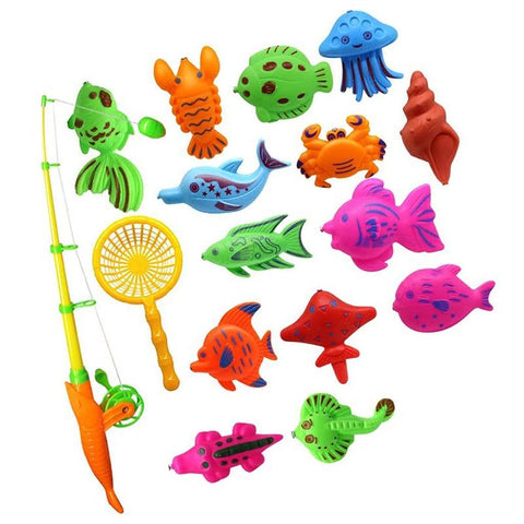 Kacakid Bath Toy Fishing Fish Model Magnetic Bathtub 15pcs