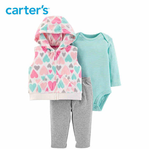 Carters Baby Girl 3pcs Clothes Set Hooded Zipper Vest Bodysuit
