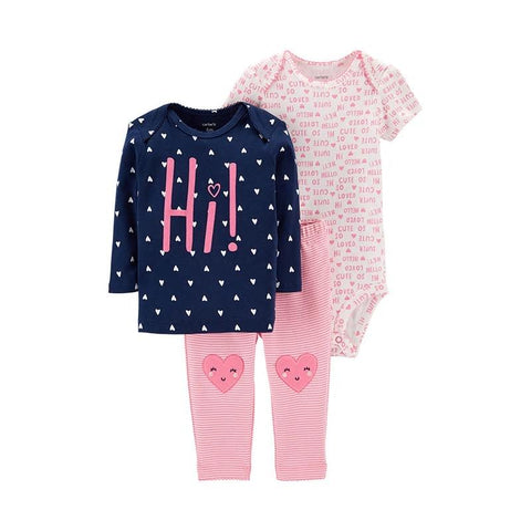 Carters 3Pcs Baby Girl Set Cute Print Soft Clothes Bodysuit