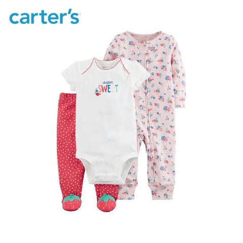 Carters Baby Girl 3pcs Bodysuits Floral Jumpsuit Strawberry Foot Pants