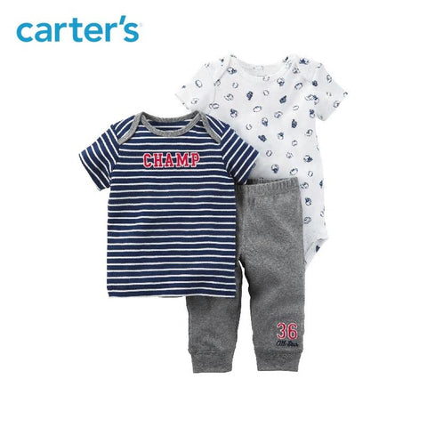 Carters Baby Boy 3Pcs Clothing Sports Print Stripe Bodysuit