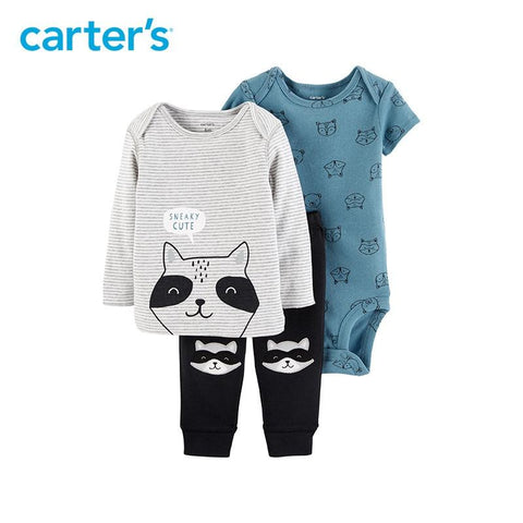 Carters Baby Boy 3pcs Stripes Raccoon Print Clothes