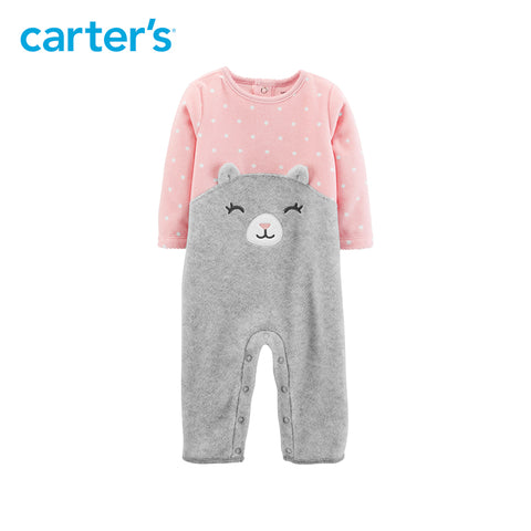 Carters Cat Fleece Jumpsuit Baby Girl Autumn Winter