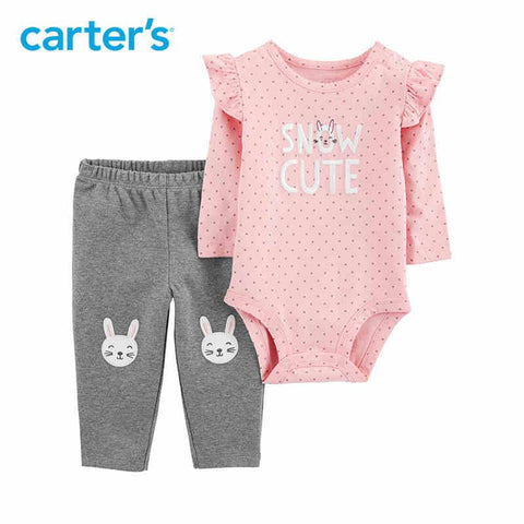 Carters Baby Girl 2Pcs Bunny Set Pink Long Sleeve Bodysuit