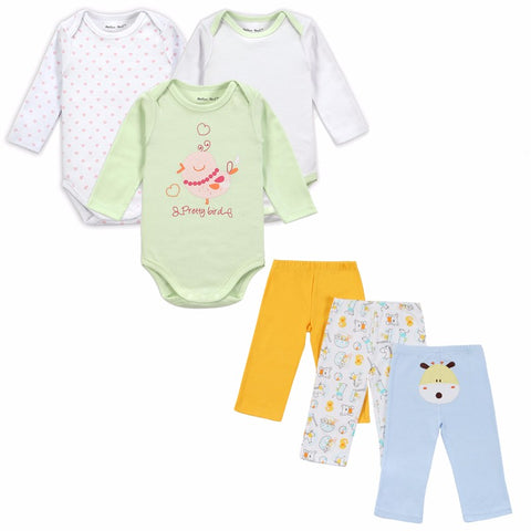 Mother Nest Brand 6 PCS Set Baby Girl Clothing Set Long Sleeves Wear