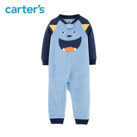 Carters Baby Boy Jumpsuit Monster Fleece Footless Autumn Winter