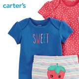 Carters Baby Girl 3pcs Strawberry Bodysuits Pants Clothes