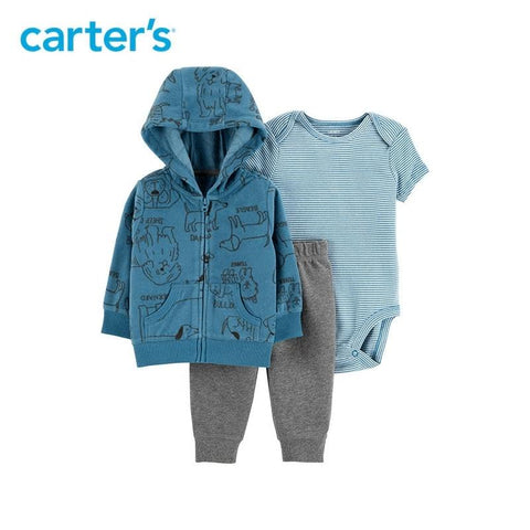 Carters Baby Boy Stripes Animals Print Hood Jacket Spring Clothes Set