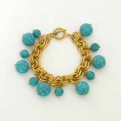 Gold and Genuine Turquoise Ball Bracelet