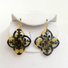 Tortoise Filigree Clover Earrings