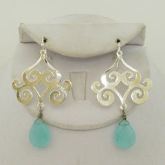 Scroll Aqua Quartz Drop Earrings