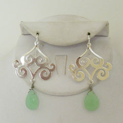 Scroll Green Quartz Drop Earrings