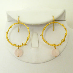 Gold Branch Rose Quartz Earring