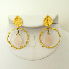 Leaf & Branch Rose Quartz earring