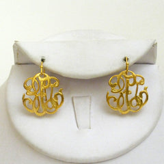 "Gold ""Universal Monogram"" Earrings"