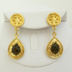 Gold & Genuine Smokey Quartz Earrings