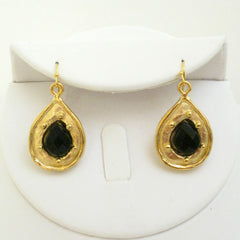 Gold & Genuine Black Onyx Earrings