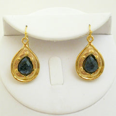 Gold & Genuine Sodalite Earrings