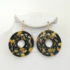 Tortoise Filigree Circle Earrings