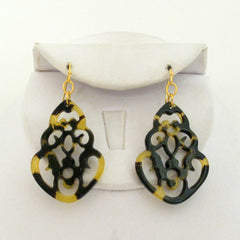 Tortoise Filigree Medallion Earrings