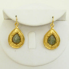 Gold Teardrop with Genuine Labradorite Earrings