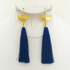 Gold Half Moon Silk Tassel Earrings