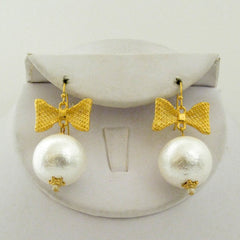 Bow Cotton Pearl Drop Earrings