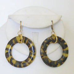 Tortoise Open Circle Earrings
