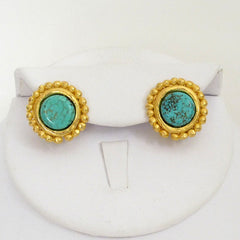 Handcast Gold with Genuine Turquoise Earrings