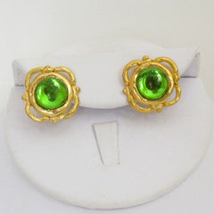 Gold & Peridot Cabochon Earrings