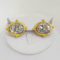 Gold & Silver Bee CLIP Earrings