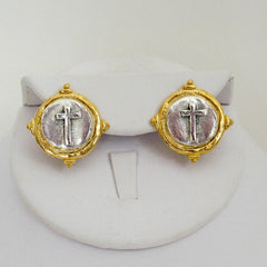 Gold & Silver Cross CLIP Earrings