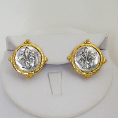 Gold & Silver Fleur de Lis Stud Earrings