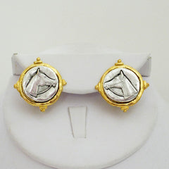 Gold & Silver Horse Head Stud Earrings