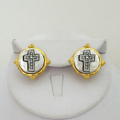 Gold & Silver Cross Stud Earrings