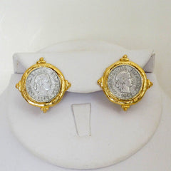 Gold & Silver Coin Stud Earrings