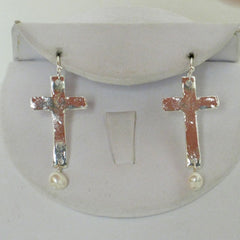 Slim Cross Pearl Drop Earrings