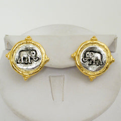 Gold & Silver Elephant Earrings