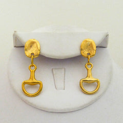 Gold Horsebit Earrings