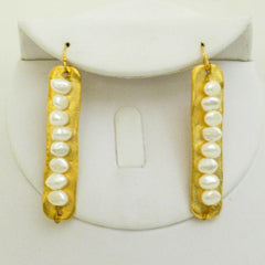 Gold Bar w/ Genuine Freshwater Pearl Earrings