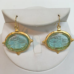 Aqua Venetian Glass Bee Intaglio Earrings