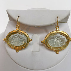 Clear Venetian Glass Bee Intaglio Earrings