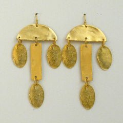 Handcast Gold Geometric Earrings